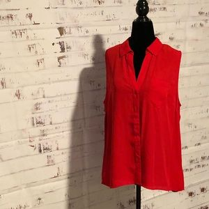 New York & Co Red Sleeveless Blouse